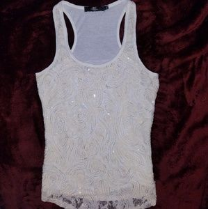 BKE Boutique embellished tank top with sequins